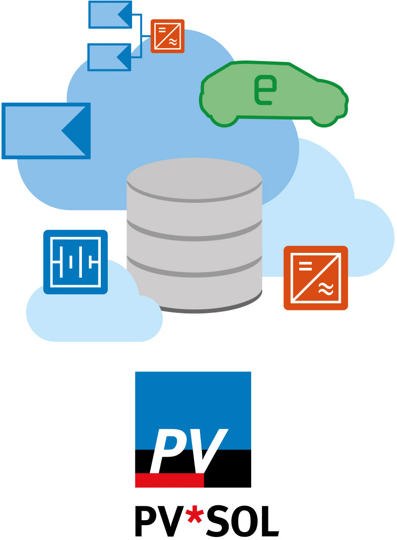 Image with PV*SOL logo, database symbol, clouds and component symbols